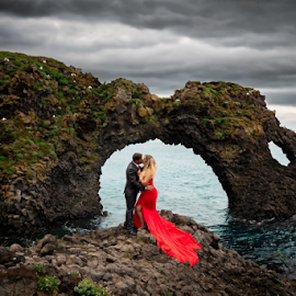 by Shawnessy Ransom - People Couples ( ocean, lady in red )