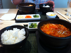 Photo: Lunch at a Korean restaurant specializing in different kinds of soondubu jigae (soft tofu in kimchi stew).  Ogikubo, Tokyo.