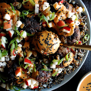 Thai Curry Meatballs with Pear Relish & Black Rice.