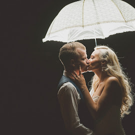 A little kiss by Paul Duane - Wedding Bride & Groom ( bride, groom, night, wedding, black and white, kiss )