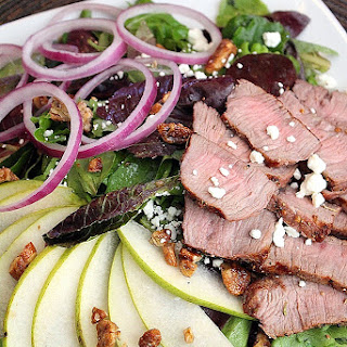 Steak Salad with Chevre and Pears