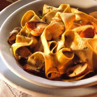 Ribbon Pasta Dinner with Creamy Mushroom Sauce.