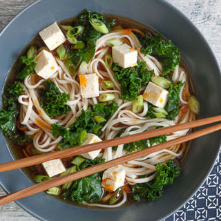 Fast Udon Soup with Tofu and Greens