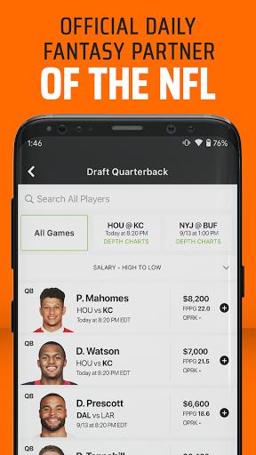DraftKings - Daily Fantasy Football for Cash 3.89.448 screenshots 1