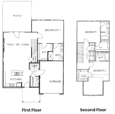 Mahogany Townhome Floorplan Diagram
