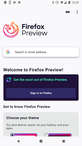 Firefox Preview Nightly for Developers screenshot 1