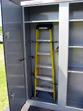 """Photo: The drom box is 68"""" wide x 18"""" deep x 7.5' high. The ladder section is 6'2"""", sized for a 6' ladder. There is a divider wall between the compartments."""