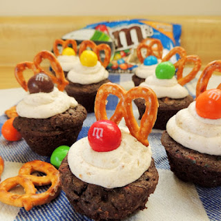 Frosted Pretzel M&M's Brownie Bites