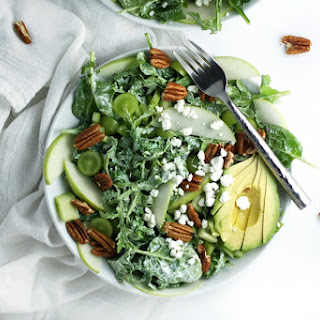 Spinach Apple Salad with Coconut Lemon Poppy Seed Dressing (V).