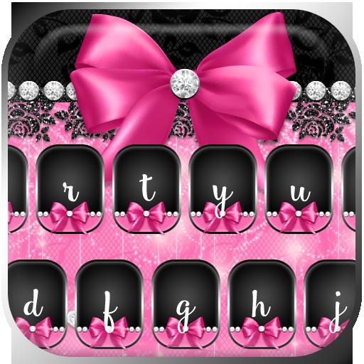 Pink Rose Black Lace Keyboard (app)