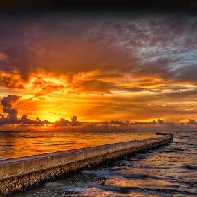 Breaking on the Breakers by John Chitty - Landscapes Sunsets & Sunrises ( jetties, corpus christi, texas, beach, sunrise, breakers, landscape )