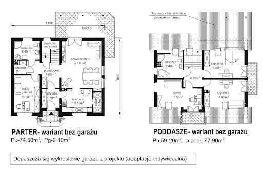 BW-44 - Rzut parteru - propozycja adaptacji - wersja bez garażu