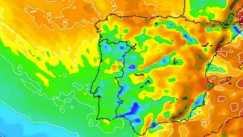 Mapa de la península en el que se muestra la borrasca. Fuente: Meteogalicia