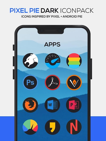 Pixel Pie DARK Icon Pack Screenshot Image