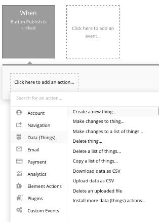 Criar um blog Medium com o Bubble - Workflows