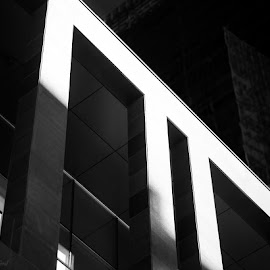 Concrete by Joshua Clifford - Buildings & Architecture Architectural Detail ( concrete, big, windows, opening, building, b&w, outdoors, outside, monochrome, black and white, lines, wall, architecture )
