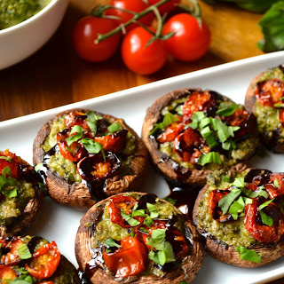 Pesto & Roasted Tomato Stuffed Mushrooms.