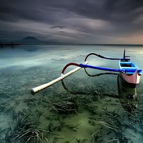 Half Boat by Ina Herliana Koswara - Transportation Boats ( water, bali, sanur, beach, boat, morning )
