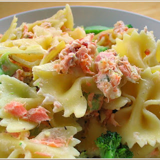 Farfalle with Smoked Salmon, Cream Cheese, and Artichoke Hearts.