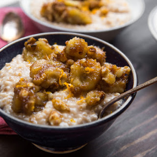 Bananas Foster Oatmeal With Walnuts and Peanut Butter