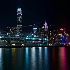 Harbour City, Hong Kong @ nite... by Budiono Tio - City,  Street & Park  Skylines ( water, hong kong, beautiful, sea, ocean, city, lights, sky, skyscraper, asia, 2012, dark, buildings, night )