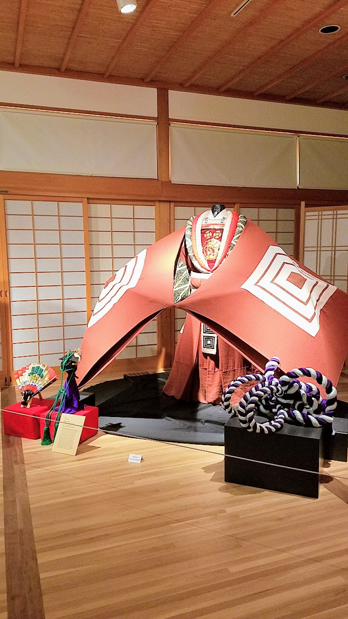 Visiting the Portland Japanese Garden - Kabuki Costumes that were on exhibit in The Pavilion during our visit