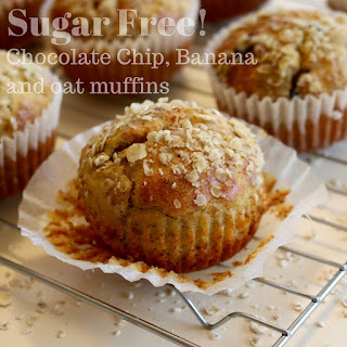 Sugar Free Chocolate Chip, Banana and Oat Muffins