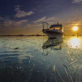 contiguous by Choky Ochtavian Watulingas - Landscapes Waterscapes ( clouds, sky, seaweeds, boats, reflections, sunrise, seascape, sun,  )