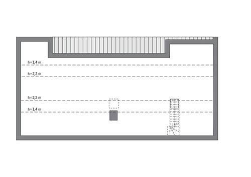 Przejrzysty - wariant XI - C365k - Rzut poddasza do indywidualnej adaptacji (66,5 m2 powierzchni użytkowej)