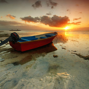 Sunrise Boat by Toliq Anshari - Landscapes Sunsets & Sunrises