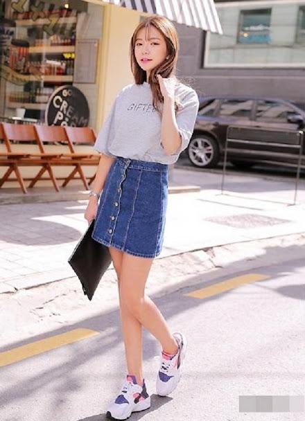 giày thể thao đế cao phối váy jean