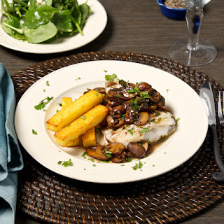Cod with Sauteed Mushrooms and Polenta Fries