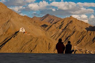 Photo: Namgyal Gompa from Shanti Stupa at sunset, Leh, Ladakh, Indian Himalayas