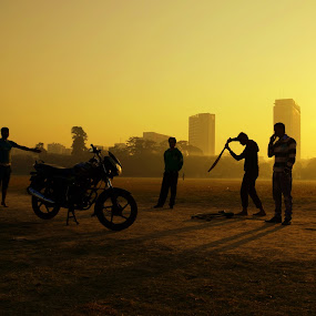 Lets Play by Sandip Ghose - People Group/Corporate ( nature, kolkata, boys, silhoutee, people )