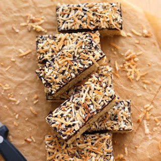 Butter Bars with Toasted Coconut & Dark Chocolate
