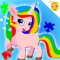 Rainbow Pony Unicorn Puzzles Games For Kids icon