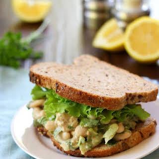 Smashed Bean Tahini Caesar Salad Sandwich.