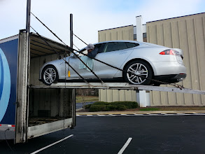 Photo: Backing my car out onto the ramp (don't go to far!)