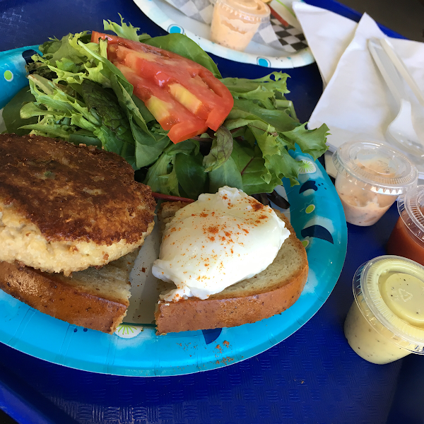 Crab cake and poached egg
