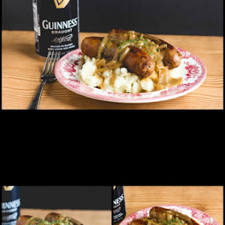 Bangers and Mash with a Guinness Onion Gravy