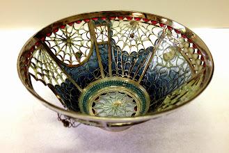 Photo: Plique-à-Jour Enamels by Diane Echnoz Almeyda - Spider Bowl #2 (Vessel - Bowl Form) - Fine Silver, Plique-à-Jour Enamels - Approximate size 42mm (h) x 83mm (diam) - $4800.00 US
