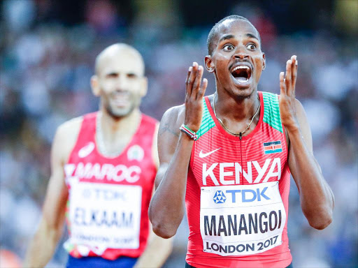 Elijah Manangoi reacts after winning the World Championships title last year