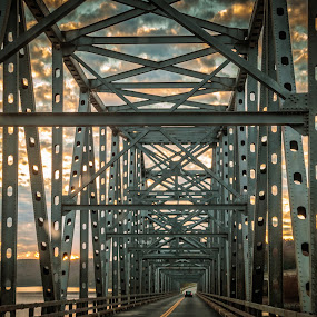 TABLE ROCK LAKE BRIDGE by Jennifer  Loper  - Buildings & Architecture Bridges & Suspended Structures ( table rock lake, sunset, metal, bridge, clouds )
