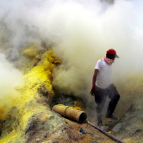 Sulfur Miners by Elha Susanto - People Portraits of Men