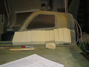 """Photo: 2"""" urethane foam stacked up to make fairing.  Typical Cozy construction:  Put a lot of stuff on, sand 95% of it off..."""
