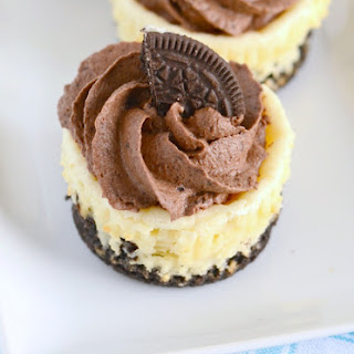 Mini Oreo Cheesecakes with Chocolate Mousse.