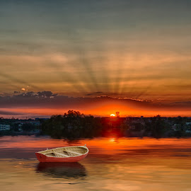 Sunset on the lake by Charlie Alolkoy - Digital Art Places ( water, sky, sunset, lake, boat )