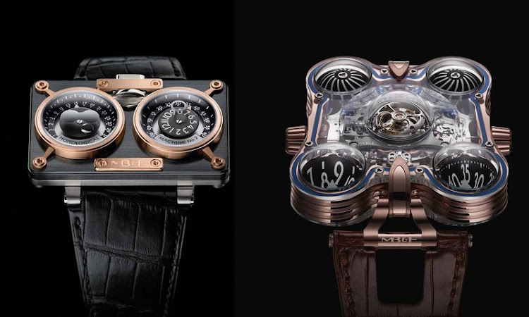 Two prior Horological Machines from MB&F. On the left, the HM2 from 2008; on the right, the HM6 SV (