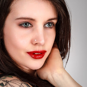 Thoughtful by Vincent Yates - People Portraits of Women ( red lips, blue eyes, thoughtful, brunette, tattoo, close up, portrait,  )