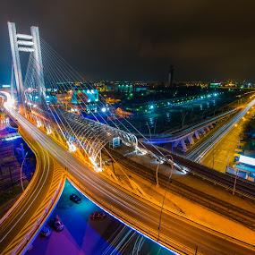 High Perspective by Baltă Mihai - Buildings & Architecture Bridges & Suspended Structures ( bucharest, romania, night, long exposure, bridge, basarab, city )